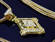 Gold Hip Hop Iced Out Compass Style Pendant Crystals New Franco Chain Necklace