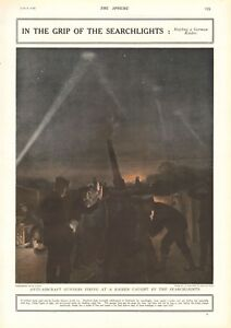 1918  ANTIQUE PRINT- WW1- HOLDING A GERMAN RAIDER IN THE SEARCHLIGHTS