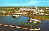 Walt Disney World Vintage Postcard Magic Kingdom Aerial Steamboats 87163-C LE