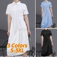 Womens Short Sleeve Casual Plain Midi Dresses Lapel Tops Loose Baggy Shirt Dress