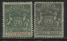 Rhodesia 1891 2d and 3d mint o.g.