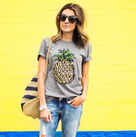 Women Pineapple Printing T-Shirt Top Short Sleeve Casual Tee Round Collar Blouse