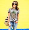Women Pineapple Printing T-Shirt Top Short Sleeve Casual Tee Round Collar Blouse