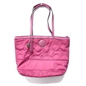 COACH Hot Pink Nylon Signature Print Tote Designer Purse Summer Bag