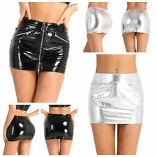 US Sexy Women Zipper Metallic Leather Wet Look Bodycon Pencil Shorts Mini Skirts