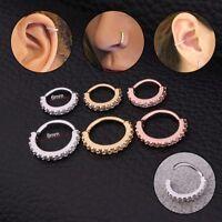 Fashion CZ Gem Nose Ring Piercing Snug Earring Helix Cartilage Tragus Daith Gift