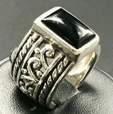 SILPADA Sterling Silver Wide Band Ring Black Onyx Filigree Scroll R1096 Sz 7.5