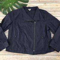 J Jill Zip Up Jacket Size L Petite Dark Purple Asymmetrical Moto Long Sleeve