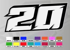 3 X Custom Racing Numbers - Vinyl Stickers Decals - Race Motorbike Mx Car Track