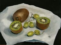 YARY DLUHOS ORIGINAL OIL PAINTING Kiwis Grapes Fruit Food Kitchen Still Life