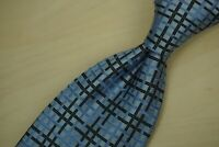 Ermenegildo Zegna RECENT Olympic Blue Coal Black Basket Woven Silk Tie
