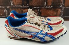 Asics Hyper MD Men's White/Red/Blue Athletic Track Spiked Shoes (Sz 11.5) G901N