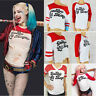 Suicide Squad Harley Quinn Damen T-Shirt Crop Tops Shirt Cosplay Party Halloween