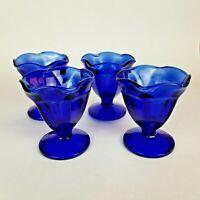 "Cobalt Blue Anchor Hocking Ice Cream Sundae Parfait Dessert Glasses 4"" Set of 4"