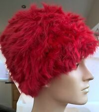 bright red real genuine rabbit fur wool knitted hat head warmer unisex