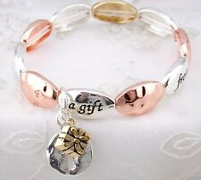 "Silver Copper Gold Stretch Bracelet ""Each day is a gift from God"" Jewelry NEW"