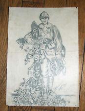 Superbe dessin au crayon signé & daté du 29 06 1919 poilu soldat WW1