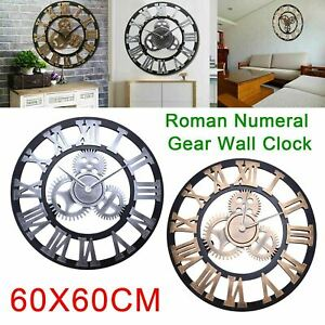 EXTRA LARGE WALL CLOCK OUTDOOR GARDEN ROMAN NUMERALS GIANT OPEN FACE METAL UK