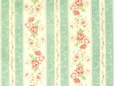 Stoffe Rosenstoffe Quilt Gate Roses for you Rosenbordüre creme rosa grün 30x112