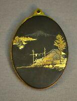 Very Fine Antique 19th c. Japanese Mt Fuji Damascene Locket w Mirror Meiji Japan