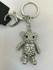 Gorgeous Dainty Teddy Bear Diamante keyring Rhinestone handbag Charm Bling NEW