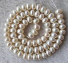 "White Freshwater Pearl Roundel Loose Beads 7-8mm 15"" Strands"