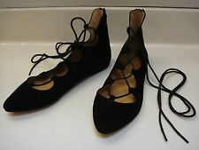 NWOB NINE WEST sz 8 Black Suede SIGN ME UP Lace Up Flats Pointed Toe Ballet