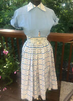 1950s White/blue 3 Pc Sun Dress Size S Summer Bombshell Cropped Jacket Wow!