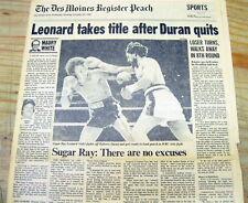 "1980 display newspaper SUGAR RAY LEONARD defeats ROBERTO DURAN - ""No mas"" fight"