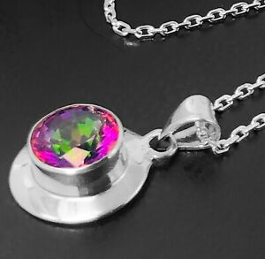 Designer 925 Sterling Silver Mystic Fire Gemstone Necklace Pendant Gift Boxed