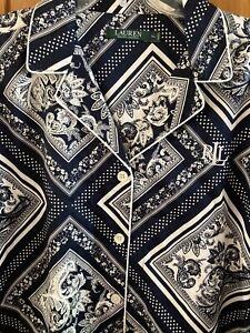 New Ralph Lauren Womens Cotton Navy White pajama top shirt XL RLL