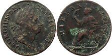 1723 Hibernia Halfpenny, RARITY-6, a VERY RARE VARIETY, Strong VF, patinated