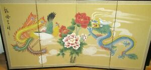 LARGE CHINESE DRAGON & PHOENIX BIRD ORIGINAL WATERCOLOR 4 PANEL SCREEN PAINTING