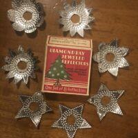 Vtg  Diamond Ray Jeweled Reflectors Set of 7 Punched Tin Christmas Light Covers