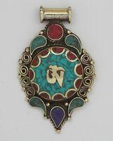 Asian JewelryEthnic Handmade Tibetan Turquoise Brass Tibetan Pendant Nepal AP 03