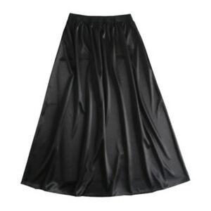 Lady Satin Faux Silk Underskirt Petticoat Under Dress Half Slip Midi Skirt Thin