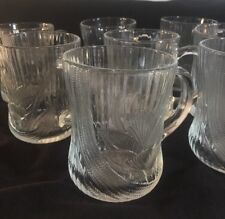 Set Of 8 Vintage  Arcoroc Canterbury Crocus Clear Glass   Coffee Tea Cups Mugs