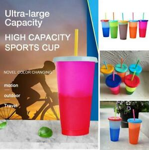 5pcs Reusable Water Bottles & Straws Kit Color Changing Cold Cups Magic Tumblers