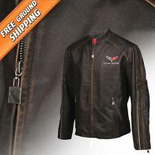 Mens Leather Featherweight Jacket (2005-2013 C6 Corvette Logo Emblem) 4X