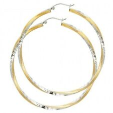 Twisted Satin Round Large Hoop 14KT Solid Two Tone Italian Gold Hinged Earrings