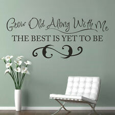 Grow Old With Me Wall Decal Word Love Family Inspiration Vinyl Master Room Decor