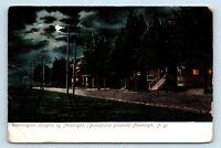Newburgh, NY - WASHINGTON HEIGHTS STREET SCENE BY MOONLIGHT - POSTCARD