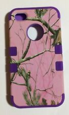 Pink & Purple Camouflage Camo Shockproof Hybrid Back Case Cover for iPhone 4 4S