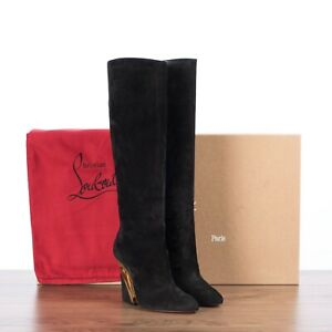 CHRISTIAN LOUBOUTIN 1575$ LEVITIBOTTA 100 Boots In Black & Gold Suede