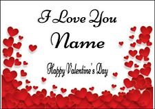 PERSONALISED HEARTS I LOVE YOU VALENTINE ANNIVERSARY ANY OCCASION CARD  A5 size