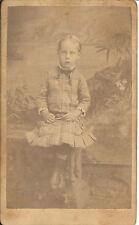 Cute Named Girl Sits-Bench-Plaid Dress-Full Length Studio-Vintage CDV Photograph