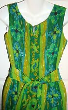 Ja Na Hawaii Hawaiian Dress Tapa Print Medium Large Green Blue Gold Floral VTG