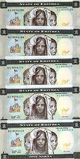 LOT, Eritrea, 5 x 1 Nakfa, 1997,  P-1, UNC > FIRST BANKNOTE