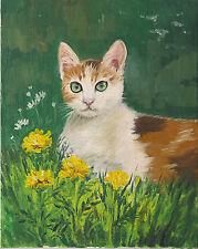 8x10 Print Of Painting Japanese Bobtail Longhair Cat Flowers Ryta Calico Spring