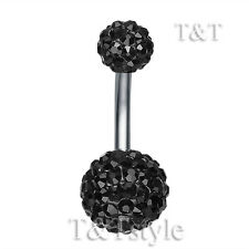 T&T 10mm Black Swarovski Crystal Ball Belly Bar Ring BL138D